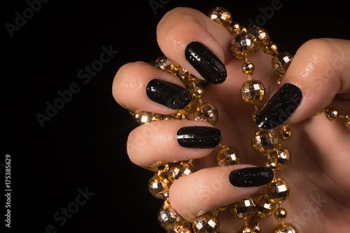 Foto op Aluminium Manicure black nails manicure