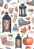 Seamless pattern with painted objects about autumn. Warm clothes, lanterns with lighted candles, autumn leaves and pumpkins. True autumn coziness - 175386492