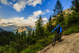 Tourist cycling in Cortina d'Ampezzo, stunning rocky mountains on the background. Man riding MTB enduro flow trail. South Tyrol province of Italy, Dolomites. - 175386804