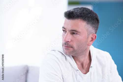 Portrait of a young man at home Poster