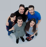Top view portrait of happy men and women standing together and smiling - 175390862