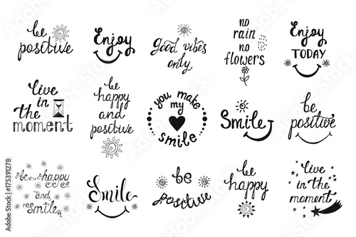 Fotobehang Positive Typography 1554444 Vector set of hand drawn calligraphy phrases. Positive typograph
