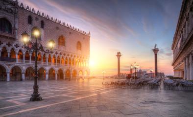 Plac świętego Marka w Wenecji zachód słońca