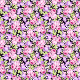 Seamless floral pattern with pink roses and lilac branches - 175403809