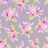 Seamless floral pattern with pink roses and lilac branches - 175403828