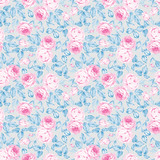 Seamless floral pattern with pastel pink roses, blue leaves on a light gray background - 175403832