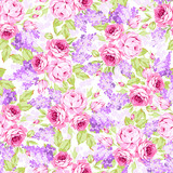 Seamless floral pattern with pink roses and lilac branches - 175403885