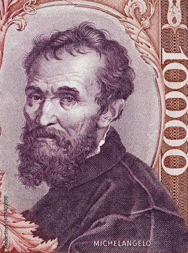 Michelangelo Buonarroti portrait on Italy 1000 lira banknote (1970) close up macro Poster