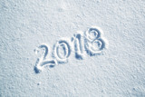 Happy new year 2018 celebration message handwritten on the sunny fresh snow. Lovely Happy new Year Holiday greeting card. - 175406883