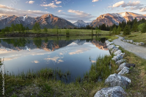 Aluminium Canada Walking Path and Quarry Lake Landscape with Distant Rocky Mountains Tops above City of Canmore in Alberta Foothills near Banff National Park