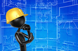 The Original Construction Worker 3D Character Illustration In Contemplation  - 175409212