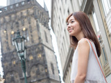 attractive asian woman traveling in europe - 175413625