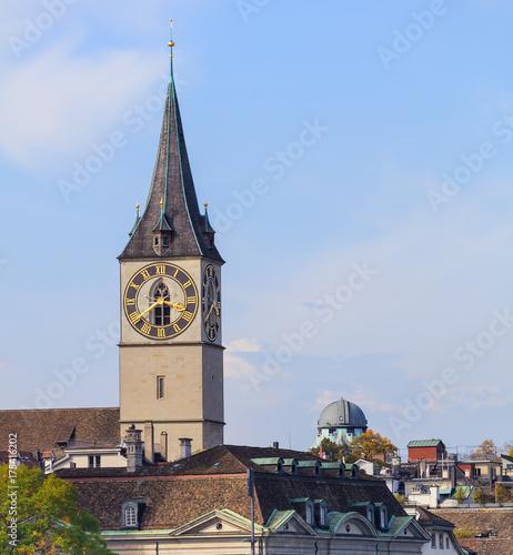 Foto op Aluminium Las Vegas Clock tower of the St Peter Church in Zurich, Switzerland