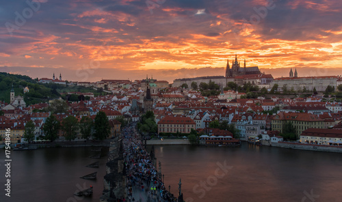 Poster Praag Prague castle in sunset with beautiful twilight sky , Prague