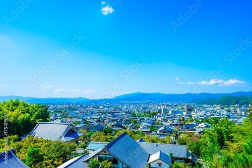 Deurstickers Blauw 京都 展望