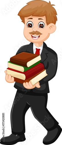handsome teacher cartoon bring book