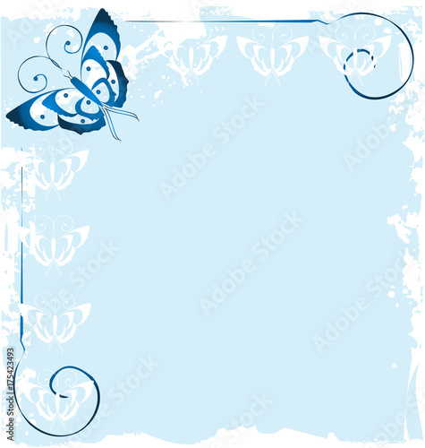 Fotobehang Vlinders in Grunge Frame of blue butterfly icon vector