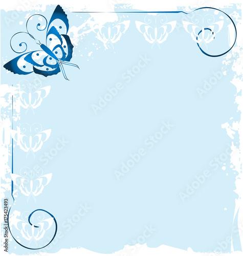 Deurstickers Vlinders in Grunge Frame of blue butterfly icon vector