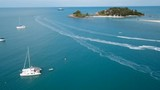 Many Yachts Anchored in Bay. Aerial View - 175430607