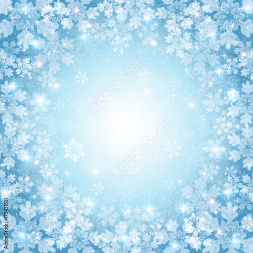Tuinposter Lichtblauw クリスマス 雪 冬 背景