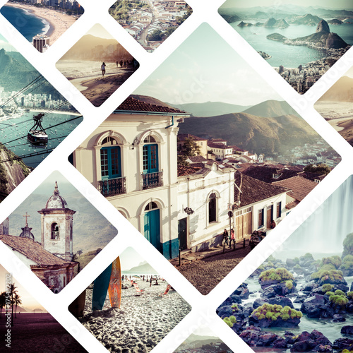 Fotobehang Rio de Janeiro Collage of Brazil images - travel background
