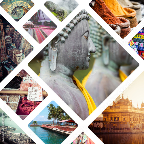 Collage of India images - travel background Poster
