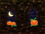 Medieval windows with pumpkin, Happy Halloween card, vector illustration - 175432857