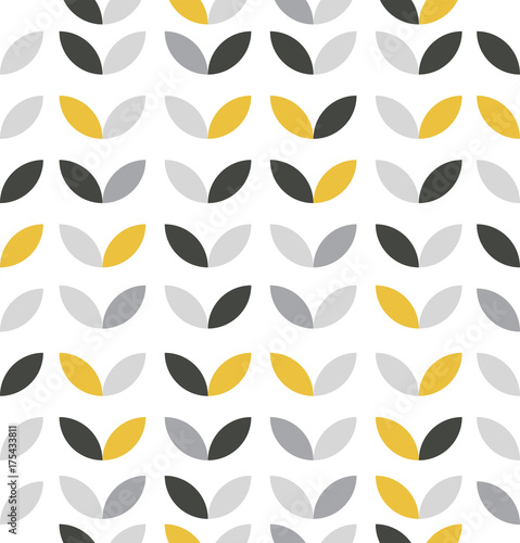 Yellow and Grey Abstract Flower Pattern - 175433811