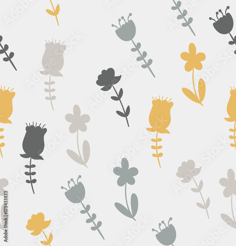 Yellow and Grey Flower Pattern - 175433833