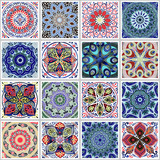 Colorful floral seamless pattern from squares - 175434058