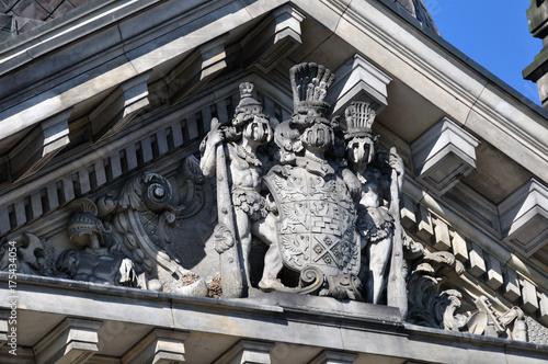 Szczecin -  Pałac Ziemstwa Pomorskiego,  dziewięciopolowy herb Księstwa Pomorskiego Poster