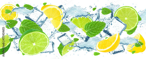 lime and lemon splash water and ice cubes isolated  - 175434613