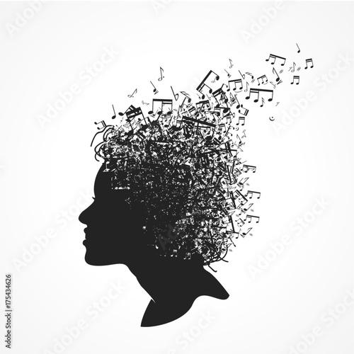 Fotobehang Muziek visage note de musique
