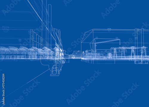 Industrial buildings. Vector - 175438284