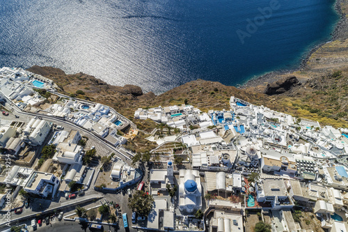 Aerial view of white buildings on the cliff in Santorini Island, Greece