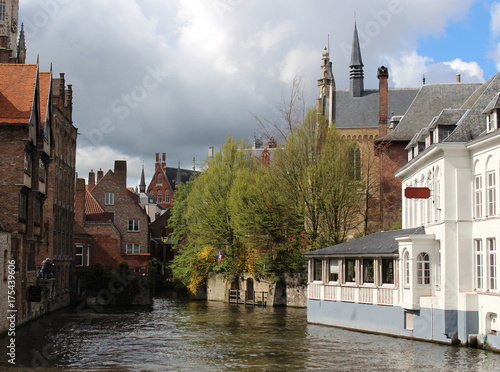 Spoed canvasdoek 2cm dik Brugge Dijver canal in Bruges, Belgium