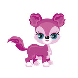 Children's Colorful Image Of Lovely Fantastic Animal In Cartoon Style  Illustration Wall Sticker