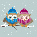 Couple of owls with scarf on a winter day - 175442499