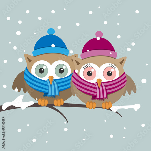 Keuken foto achterwand Uilen cartoon Couple of owls with scarf on a winter day