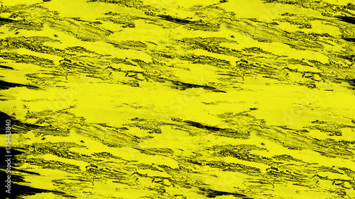 Staande foto Geel Abstract yellow paint on the black background