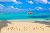 Word Maldives on beach - 175444605