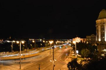 Evening urban traffic at night