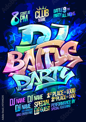 Deurstickers Graffiti Dj battle party poster design concept