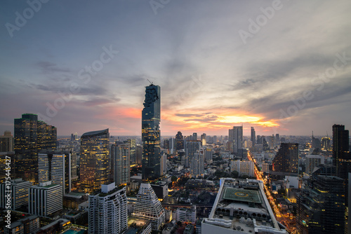 Bangkok city - beautiful twilight sunset long exposure light  cityscape at night Poster