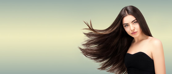 Hair salon. Beauty Fashion Model Woman  Long Banner,Healthy Brown Hair looking at camera. Hairdresser,hairstyle concept © Jet Cat Studio