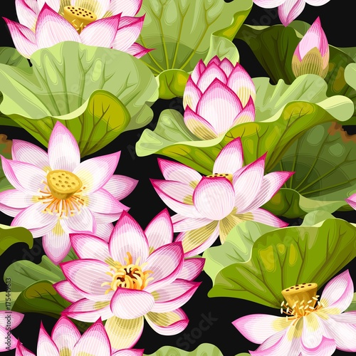 Sticker Seamless pattern with lotus flowers