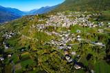 Teglio - Valtellina (IT) - Vista aerea del paese verso ovest - 175450213