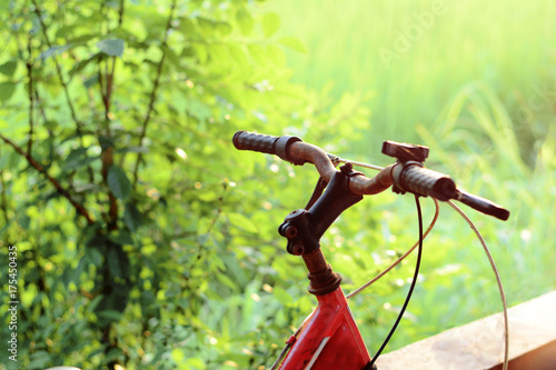 Spoed canvasdoek 2cm dik Fiets the red bicycle near the cement wall and the soft light of morning
