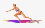 Surferin auf einem Surfbrett - 175452078