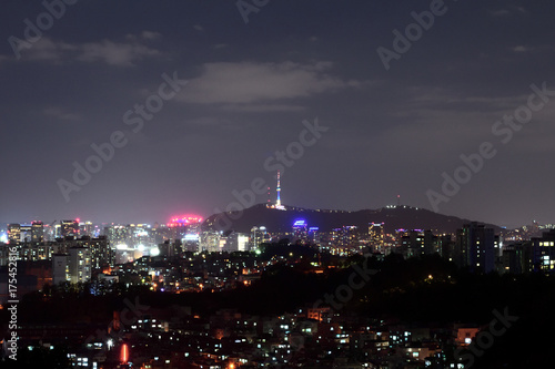Staande foto Seoel Korea, Namsan Tower and night view of Seoul
